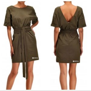 Zara tie waist olive green mini dress Sz S